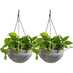 "Hanging Planter 10"" Resin Balcony Flower Pots Patio Basket Marble Pattern 2 PC"
