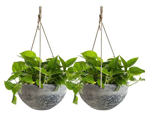 Hanging Planter Flower Plant Pots - 10 Inch Indoor Outdoor Balcony Basket Patio Resin Set 2, Marble Pattern