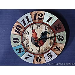 Farm House Themed 13 inches Round wall clock, Rooster themed , with Rooster Design on the dial