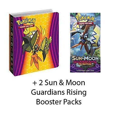 Pokemon Sun & Moon Guardians Rising Mini Binder Collector's Album + 2 Sun & Moon Guardians Rising Booster Packs - Bundle of 3 Items