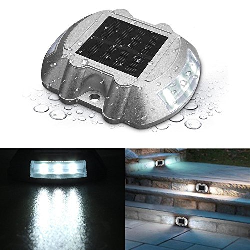 SOLMORE Solar Dock Light, LED Deck Light Solar Lights Path Road Dock Lights Waterproof Outdoor Warning Step Lights for Driveway Garden Walkway Backyard Fence Patio White (1Pcs)