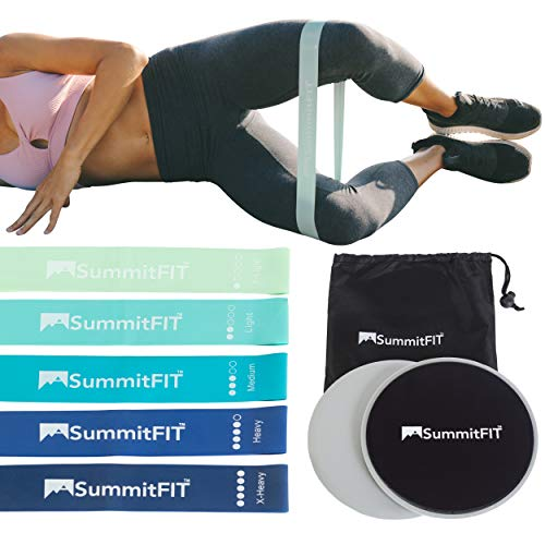 Core Sliders Exercise Bands Resistance Set SUMMITFIT: Exercise Sliders Minibands Peach Women Work Out Equipment 80 Day Obsession Booty - Free Workout + Macros Guide E-Book