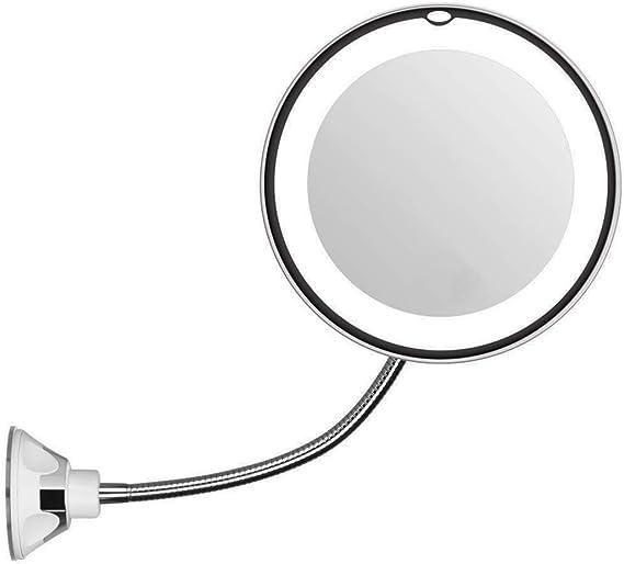 yasta Specchio Flessibile Rotondo Trucco Luce LED ingraditore 5X Pieghevole Rotante