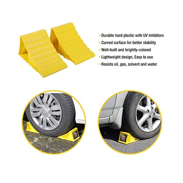 51gGsQdrNyL Pr1me 02-013 Unterlegkeil für Reifen, 2 Stück, rutschfest, für die meisten Reifengrößen, einfach aufzustellen