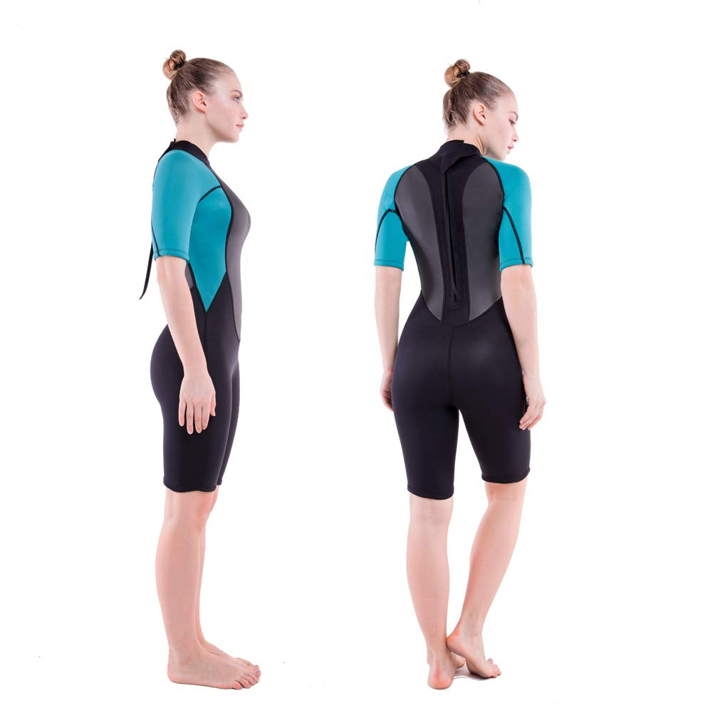 Realon 3mm Shorty Wetsuit Womens CR Neoprene Surfing Scuba Diving Snorkeling Swimming Suit (3mm Shorty Dark/Blue, Medium) by Realon (Image #7)