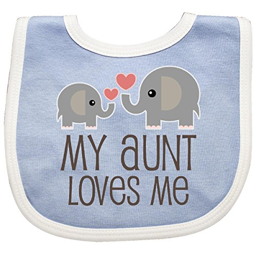 Inktastic My Aunt Loves Me Gift Baby Bib Blue/White