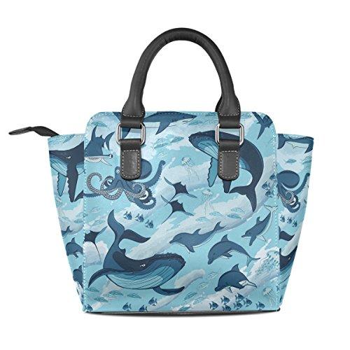Jellyfish Leather Shark Tote Shoulder TIZORAX Marine Women's Whale Handbags Bags Dolphin Octopus g446qfZ