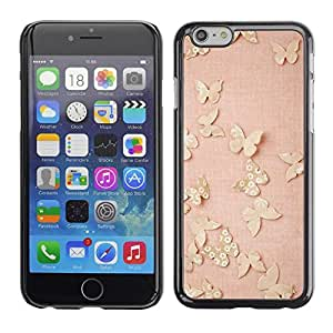 FECELL CITY // Duro Aluminio Pegatina PC Caso decorativo Funda Carcasa de Protección para Apple Iphone 6 Plus 5.5 // Butterfly Gold Bling Spring Peach Pink