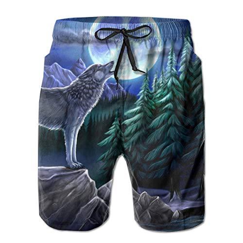 JIAU HUA Werewolf Men's Quick Dry Swim Trunks Casual Beach Shorts with Lining Surf Shorts White]()