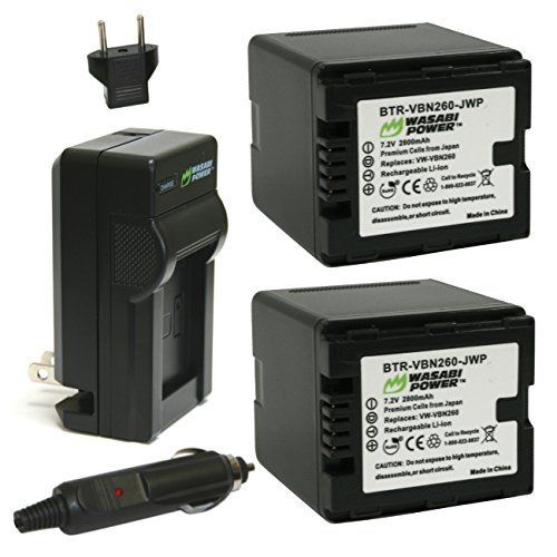 Wasabi Power Battery (2-Pack) and Charger for Panasonic VW-VBN260 and Panasonic HC-X800, HC-X900, HC-X900M, HC-X910, HC-X920, HC-X920M, HDC-HS900, HDC-SD800, HDC-SD900, HDC-TM900 (2800mAh)