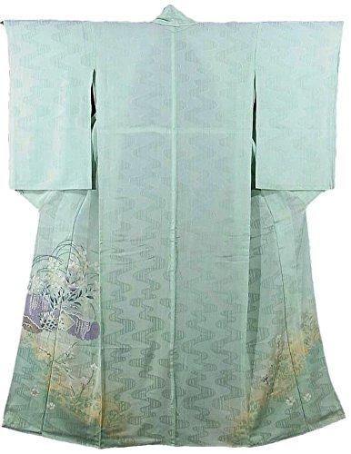保存フォアマン徹底的にアンティーク 着物 夏物 紋紗 秋草色紙文  裄61cm 身丈160cm