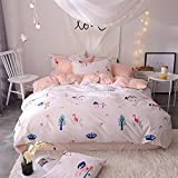 LELVA Flamingo Bedding Sets Cute Reversible Design Girls Boys Duvet Cover Bed Set 4 Pieces Cootton White and Pink (Full/ Queen, Flat Sheet Set)
