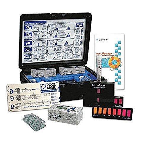 Lamotte 3366-01 Pool MGR Test Kit, 0.2-3.0 ppm Free/Total Chlorine, 6.8-8.2 pH Range, 60-400 ppm Total Alkalinity, 60-400 ppm Calcium Hardness, Acid Demand