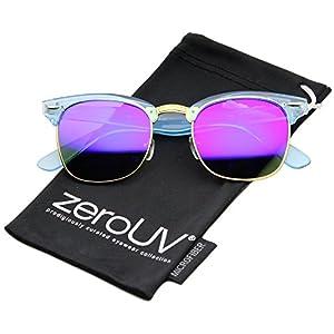 zeroUV - Classic Transparent Frame Color Mirror Square Lens Horn Rimmed Sunglasses 49mm (Blue/Blue Mirror)