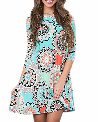 sandals Imysty Womens Casual Boho Dress 3/4 Sleeve Summer Beach Swing Sundress with Pockets