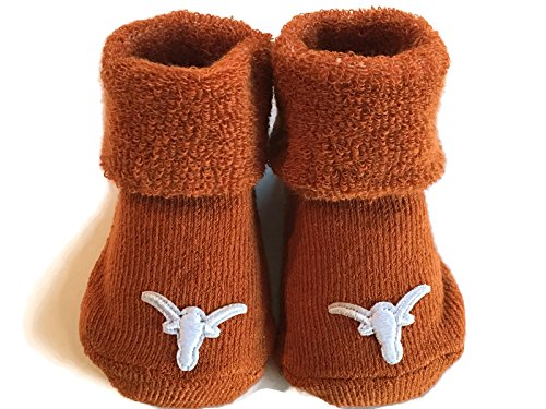 Texas Longhorns Baby Booties UT Burnt Orange Infant Socks NCAA Licensed Team Logo (Burnt Orange Ut)