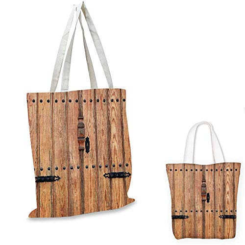 Rustic ultralight shopping bag Wooden Door with Iron Style Padlock Gate Exit Enclosed Space of Building Picture shopping bag for women Pale Brown. 15