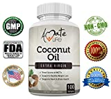 Amate Life Coconut Oil 1000mg Softgels, Made with Organic Pure Extra Virgin Coconut Oil, Dietary Supplement with High Source of MCT's- Metabolism Booster- Made in USA – 100 Count