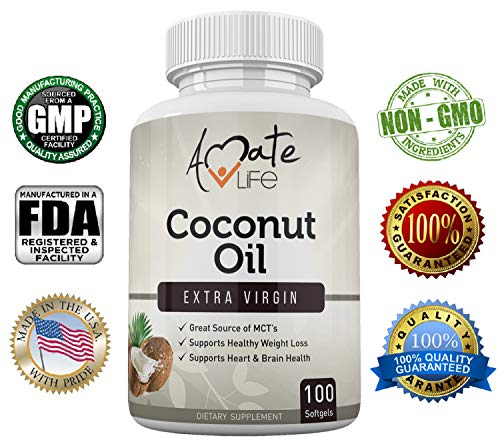 Amate Life Coconut Oil 1000mg Softgels, Made with Organic Pure Extra Virgin Coconut Oil, Dietary Supplement with High Source of MCT's- Metabolism Booster- Made in USA - 100 Count