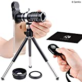 Universal 3in1 Lens Kit with Bluetooth Remote Control Camera Shutter + 12x Telephoto + Macro + Wide Angle Lenses - Awesome Mobile Photography for Apple iPhone, Samsung Galaxy, etc. - Adjustable Tripod