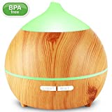 essential oil diffuser package - Essential Oil Diffuser, Avaspot 250ml Wood Grain Aromatherapy Cool Mist Humidifier Ultrasonic Aroma Diffuser With Waterless Auto-off,7 Color Led Light, Adjustable Mist Mode for Home, Office, Yoga, Spa