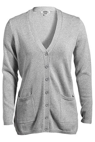 Ed Garments Women's Two Patch Pockets Cardigan, HEATHER GREY, X-Large