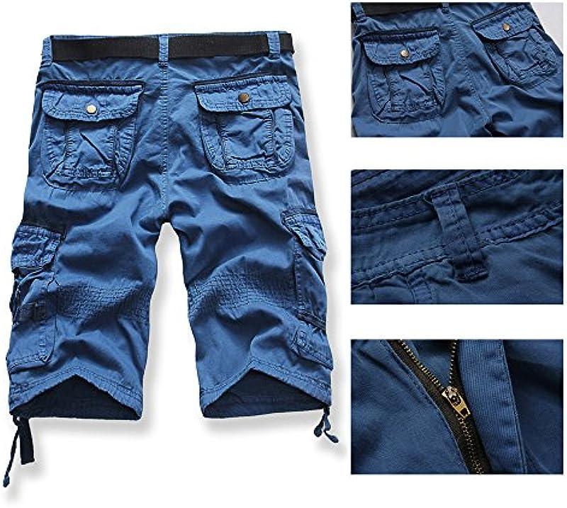 Celucke męskie szorty cargosowe z paskiem, ściągacz na dole, męskie szorty krÓtkie spodenki bermudy, spodnie cargo, spodnie rekreacyjne, letnie spodenki bermudy: Odzież