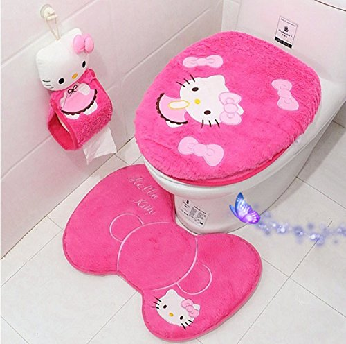 Ikeelife Cute Hello Kitty Bathroom Pedestal Mat Cotton Non Slip Bath Mat Toilet Contour Rug, Closestool Lid Cover,Seat Cushion,Tissue Box 4PCS Set Rosy Set4