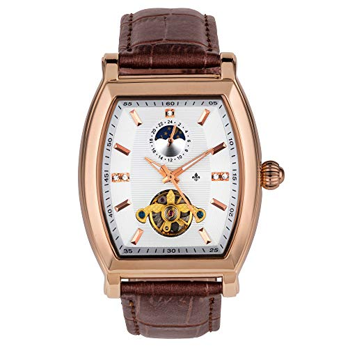 RALPH CHRISTIAN Men's Luxury Wrist Watch Rose Gold & Leather Automatic- Lyon Tonneau Case - Self-Winding Movement, Analog Dial, Water Resistant with Lunar Dial & Tourbillon Inspired Mechanism