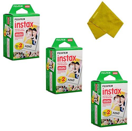 Fujifilm Instax Mini Instant Film 60 Prints (3 Twin Packs = 60 Pictures) For Fuji mini 90, mini 70, mini 50s, mini 25, mini 9, mini 7s, mini 8+, mini 8 Camera, Smartphone Printer SP-1 SP-2 (Fuji Instax 50s Film)