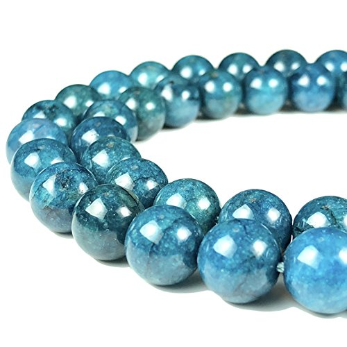 (ABC GEMS USA Rare Brazilian Blue Apatite (Exquisite Color- Grade AA) 10mm Smooth Round Beads for Beading & Jewelry Making)