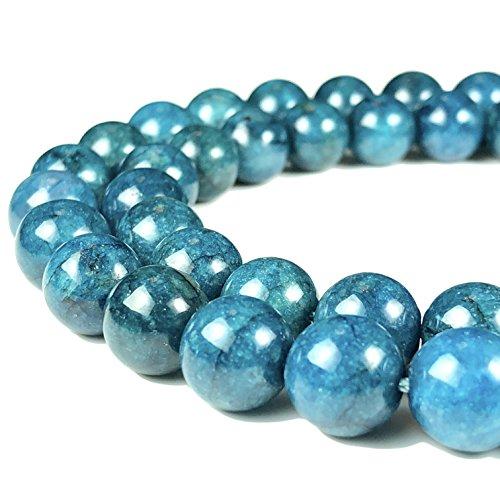 ([ABCgems] Brazilian Blue Apatite 8mm (Rare) Smooth Round Beads)