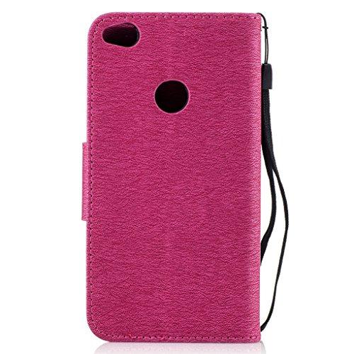 Trumpshop Smartphone Carcasa Funda Protección para Huawei Honor 8 Lite + Dont Touch My Phone (Bebe oso) Oro + PU Cuero Caja Protector Billetera [No es compatible con Honor 8] Rojo