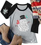 FAYALEQ Let It Snow Christmas Holiday Snowman T-Shirt Womens Funny O-Neck Tops Raglan