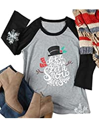 SUPEYA Women Christmas Snowman Let It Snow Print Raglan Sleeve Baseball Shirt Tops