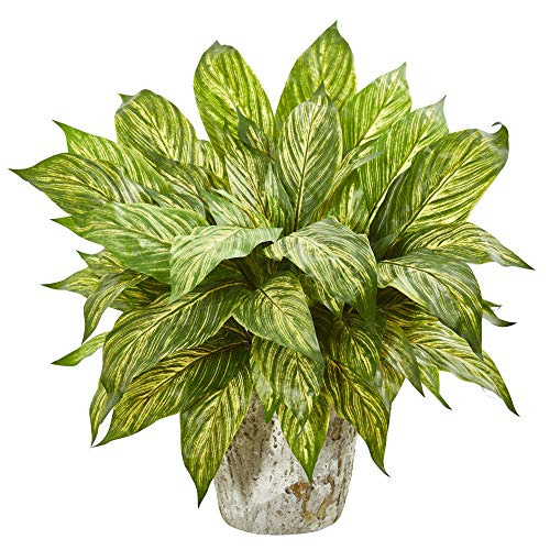 Nearly Natural 8506-YG Musa Leaf Artificial Weathered Oak Planter Silk Plants Yellow Green