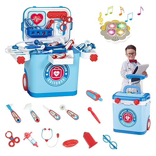 Tiooka Doctor Kit for Kids - 18 Piece Pretend Play Doctor Set with Medical Storage Bag and Stethoscope for Kids - Kids Doctor Play Set - Educational Doctor Toys for Toddler Boys Girls Ages 3+