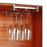 VOBAGA Stemware Racks 2 Rows Adjustable Stainless Steel Wine Glass Rack Stemware Hanger Bar Home Cup Glass Holder Dinnerware Kitchen Dining,Hold 4 Glasses