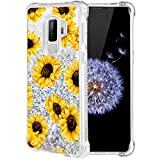 Caka Galaxy S9 Plus Case,Galaxy S9 Plus Floral Glitter Case Flower Pattern Series Luxury Fashion Bling Flowing Liquid Floating Sparkle Glitter Soft TPU Case for Samsung Galaxy S9 Plus (Sunflower)