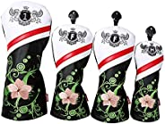 SM SunniMix 4pcs Golf Wood Headcovers Waterproof Unique PU Golf Driver Head Covers Drivers Wood Clubs Protecti