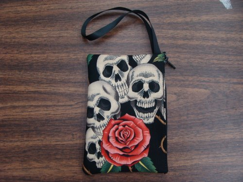US Handmade Fashion Electronic Device Clutch Purse, Pouch Wristband Makeup bag, Cosmetic BagFOUR SKULLS PINK ROSES  Pattern ,NEW, SCB 1006-6