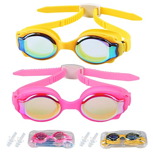 Kids Swim Goggles,MAGGEI Fish Shaped Anti Fog UV Protection No Leaking Soft Silicone Child Swimming Goggles with Clear Vision and Car Shaped Protection Case for Kids Child Early Teens 2 - Get Tightened Glasses