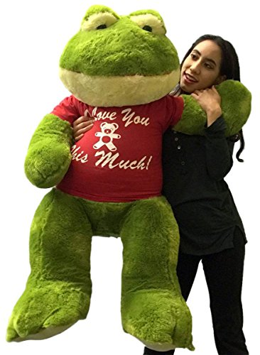 Froggy Plush - Big Plush Giant Stuffed Frog Wears I Love You This Much Tshirt, 48 Inch Soft Romantic Amphibian