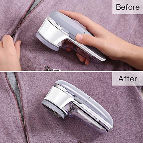 Electric Fabric Sweater Shaver, NOOA Battery Operated Lint Remover All Steel Blades Remove Fleece Fuzz,Lint,Pills,Bobbles for Clothes,Sweater,Couch,Cushion,Blanket,Curtain,Socks,Wool,Cashmere, Gift