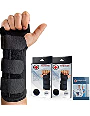 Doctor Developed Carpal Tunnel Night Wrist Brace & Wrist Support [Single] (with Splint) & Doctor Written Handbook - Fully Adjustable to Fit Any Hand (Right)