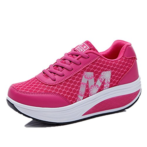 EnllerviiD Women Lace Up Platform Fitness Work Out Sneakers Shape UPS Walking Shoes Rx2716 Rose 8MvsJY26D
