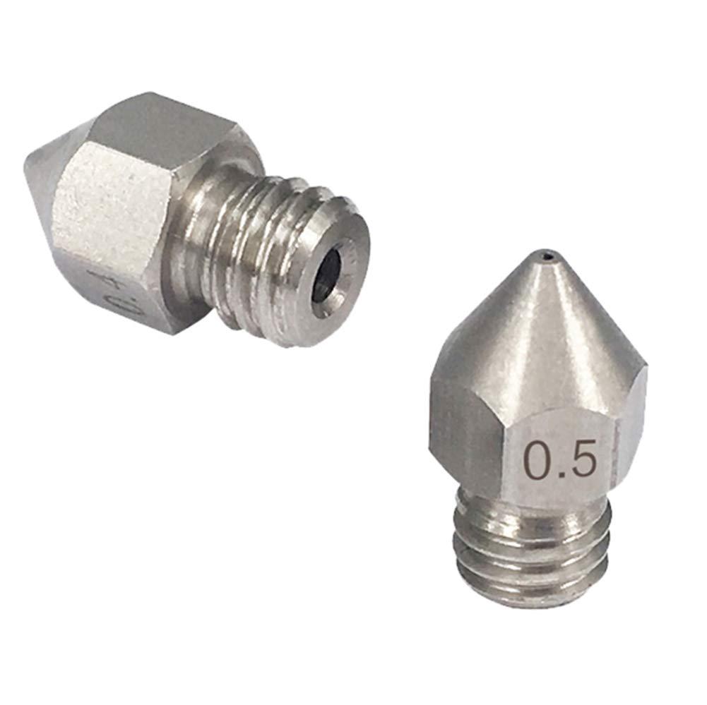 0,2 mm 0,3 mm 0,4 mm 0,5 mm Acciaio Inossidabile Testine di Stampa per Estrusore MK8 Anet A8 A6 KeeYees 8 Pezzi Ugello Stampante 3D M6