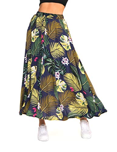 (MaxiSkirt forWomen - Long Floral Skirt Great for Travel, Beach, Cocktail or Party (S, Navy Printed Maxi)