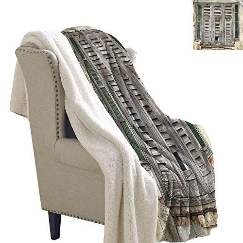Acelik Wool Blanket Shutters Old Weathered Wood Window Gift Throw Blanket for Women Men W59 x L47 ()