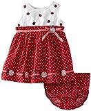 Blueberi Boulevard Baby-girls Newborn Pindot Ladybug Sundress, Red, 6-9 Months image